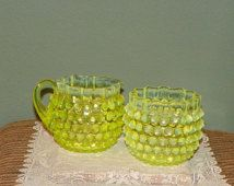 Antique Vaseline Glass SPOONER CREAM PITCHER Hobbs Brockunier Creamer Uranium Opalescent opal Canary Dew Drop