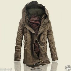 Mens Coat Casual Winter Parka Warm Anorak Overcoat Trench Clothes