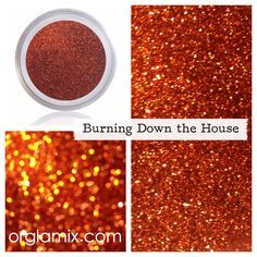 Oct 2017 - Hold tight, wait 'til the party's over. Burning Down The House is a medium cut, flaming orange metallic glitter. Fightin' fire with fire, huah. Yea, Burning down the house. What it is: A selection of Glitter Pigment, Body Glitter, Glitter Makeup, Cosmetic Grade Glitter, Formula Cans, Medium Cut, Orange Glitter, Diy Cutting Board, Types Of Makeup