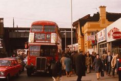 the station is at the back left of photo with the station bridge going across. Vintage London, Old London, East London, London Bus, London Life, Rt Bus, Bus City, Routemaster, Hanging Gardens