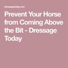 Prevent Your Horse from Coming Above the Bit - Dressage Today