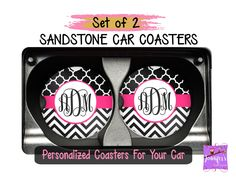 Chevron Black White Pink Personalized Coaster Set - Plaid Patterns Custom Car Coasters, Sweet 16 Gift, New Car Gift, Stocking Stuffers by JenniferCraftCorner on Etsy Gifts For Boss, Gifts For Coworkers, Gifts For Wife, Gifts For Her, Mom Gifts, Monogram Coasters, Personalized Coasters, Personalized Wedding Gifts, Boss Birthday
