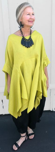 Kedem Sasson Gusseted Flowing Drama Top in Citron