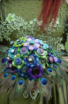 """""""Peacock Feather and Vintage Button Bouquet"""" by jamball on Etsy"""