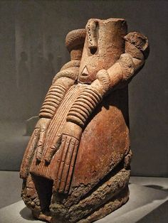 Kneeling Figure with Snakes inland Niger Delta region Mali 11th-14th century CE Terracotta