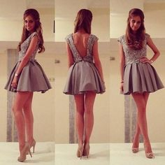 High Neck prom dress, Cap Sleeves prom dress, Open Back prom dress,Short prom dress,Homecoming Dress-Grey,BDS00134