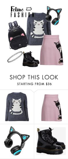 """""""Kitty living!"""" by emmaleventhal ❤ liked on Polyvore featuring MSGM, Brookstone and Dr. Martens"""