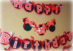 Minnie Mouse Birthday Banner  Classic Minnie by PurpleZebraPaperCo, $32.00
