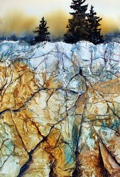 Using Tissue Paper & Gesso For Rocky Textures