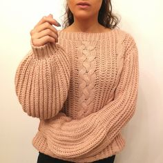 Pull Calinou rose pâle Pull Grosse Maille, Turtle Neck, Pullover, Sweaters, Fashion, Chunky Knits, Pale Pink, Flutter Sleeve, Tops