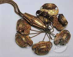 6, Spain, Madrid, Gold necklace with pendants, Carambolo Treasure found in Camas, Spain, detail PHOENICIAN