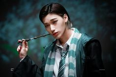 Hogwarts Uniform, Nct, Demon Baby, Crazy Wallpaper, Harry Potter Cosplay, Slytherin House, Face Swaps, K Pop Star, Extended Play