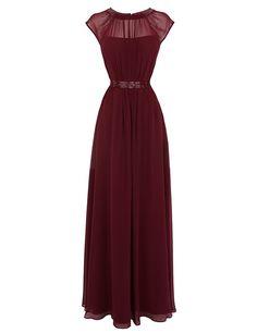 Tidetell.com Timeless Jewel A-line Floor Length Chiffon Burgundy Prom/Evening Dress With Beading