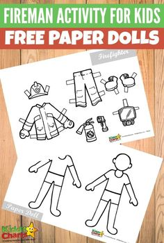Fireman activity printable for kids Free paper dolls