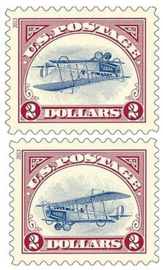 """In this combination of two 2013 photos released by the United States Postal Service, a reissue of two versions of the famous """"Inverted Jenny..."""