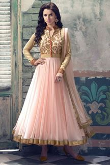 Show details for Pink collar neck anarkali suit in net fabric