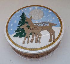 Tinyrose's Craft Room: Circular Christmas Box for Chocs Deer Family, Winter Trees, Washi Tape, Snow Globes, Holiday, Christmas, Bubbles, Crafty, Box