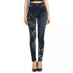 S-XL High Elastic Women Leggings Black Cat Imitation Jeans Pattern Fashion Slim Seamless Pants Trousers Denim Leggings Denim Leggings, Cotton Leggings, Black Leggings, Jeans Leggings, Print Leggings, Jeggings, Denim Fashion, Fashion Pants, Patterned Jeans