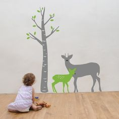 The Bambi wall decal is a great solution for adding a touch of nature to your urban space, and will complement your kids rooms decor with neutral and earthy tones. This adorable decal features a two giant Bambi vinyl wall graphics, each in a different size and color.$73.95