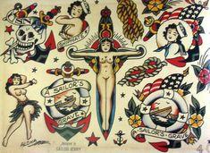 Sailor Jerry Tattoo Art Flash 13 x 19 Photo Print Traditional Tattoo Pin Up, Blue Ink Tattoos, Tatoos, Sailor Jerry Tattoo Flash, Marvel Canvas, Tatuaje Old School, Tattoo Flash Sheet, Vintage Flash, Flash Art