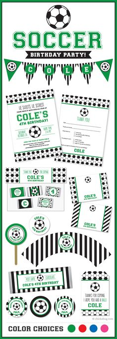 Soccer party invitations, stickers, water labels, party printables, and lots more! In RED, GREEN, BLUE or PINK. #soccerparty #chickabug