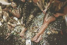 scattered glitter. glitter on the floor.