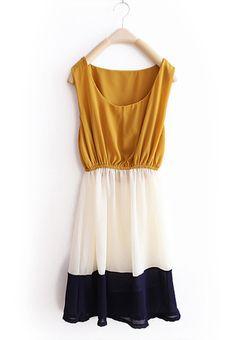 Yellow Stripe Patchwork Chiffon Tank Dress $31