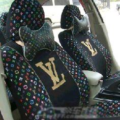 12896 Classic LV Louis Vuitton Universal Auto Car Seat Cover Sets Cotton 10pcs