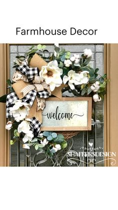 Front Door Decor, Wreaths For Front Door, Door Wreaths, Porch Decorating, Tuscan Decorating, Decorating Ideas, Farmhouse Chic, Farmhouse Front, Diy Wreath