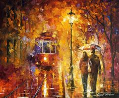 DATE BY THE TROLLEY by Leonid Afremov. You can get 15% discount! Use this discount coupon - x25mk721oz http://afremov.com/DATE-BY-THE-TROLLEY-Oil-Painting-On-Canvas-By-Leonid-Afremov-20-X24-50cm-x-60cm.html?bid=1&partner=14089