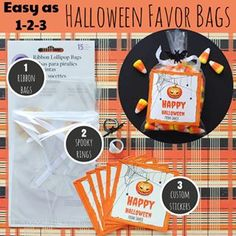 Halloween favor bags for the creatively impaired. Easy as 1,2,3. Create a custom label using our templates. The bags, rings and candy are at your local Joann or Michaels craft stores.  #notMarthaStewart #Halloween #TrickorTreat #givemecandy #HalloweenIdea #TreatBagIdea #HalloweenGoodyBags #HalloweenParty #customstickers #designonline #easyas123 #HalloweenNight #HalloweenCandy #LabelLove #labelprinting