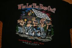 """Saddle Jacks Bar & Grill saloon """"Who Let The Hogs Out?"""" biker T-Shirt 3XL XXXL #FruitoftheLoom #GraphicTee"""