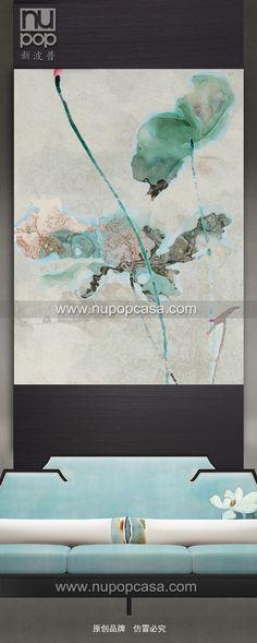 新中式家具 - 荷花主题墙饰硬包,荷花沙发。 上海新波普-原创品牌,产地上海。订购请联系官方网站www.nupopcasa.com