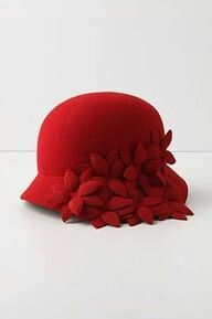 Fantastic red felt cloche.  Who?