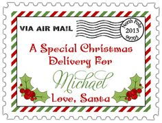 Santa Air Mail Stamp Personalized Stickers  Christmas by partyINK