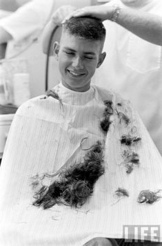 Now, he's feeling a bit better about the makeover Vintage Mens Haircuts, Haircuts For Men, Military Haircuts, Haircut Men, Men's Haircuts, Short Buzzed Hair, Short Hair Cuts, Short Hair Styles, Barber Shop Haircuts
