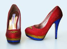 Wonder Woman Insignia Pumps -- Superhero Style in Sparking Red Women's High Heeled Stilettos with Blue and Gold Decorations