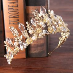 2018 New Baroque Crown Princess Bride crystal crown crown gold and silver wedding ornaments