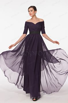 Modest Eggplant Off the Shoulder Mother of the Bride Dress with Sleeves