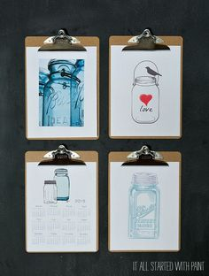 Mason Jar Printables - Mason Jar Clipboard Art with Printables