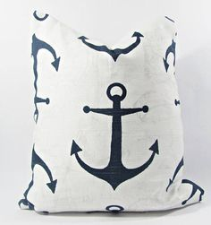 Navy Blue Anchor Pillow Cover- Navy Blue Pillow Cover Lumbar or Euro Sham or Table Runner Nautical Pillow Covers, Blue Pillow Covers, Nautical Pillows, Decorative Pillow Covers, Cover Pillow, Anchor Pillow, Navy Blue Pillows, Poly Bags, Cover Size