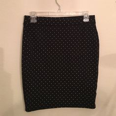 Ivory Dotted Skirt Bodycon polka dot skirt! Worn a few times, still good condition! Old Navy Skirts