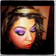 Eyeshadow! 2 purples and black in the corners. Winglike eyeliner. Takes some practice. Love the look!
