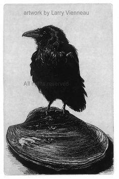Raven artwork  Raven crow  Etching in assorted par RAVENSTAMPS
