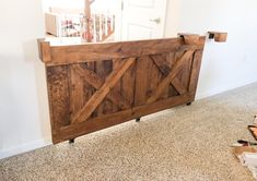 Throw out that plastic gate you currently have, its time for an upgrade. Add some style to your house with one of these rustic sliding gates. Size and color is totally customizable to your home. The gate uses wall mounted metal roller brackets to keep the gate on track and tight to the wall and included wooden