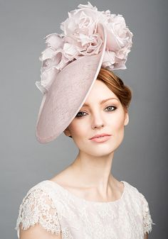 Rachel Trevor Morgan Millinery S/S 2015, R1561 Dusty pink disc with soft blowsy flowers