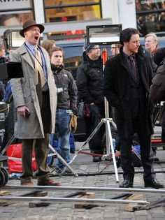 """'Filth'   Irvine Welsh, makes a cameo appearance on the filmset of """"Filth"""" as a photographer with James McAvoy in Edinburgh, Scotland on February 15, 2012  ( - Photo by FameFlynet Pictures)"""