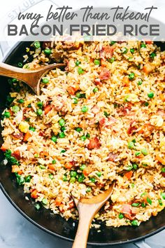 Bacon Fried Rice is 1000x better than takeout and has crispy bacon, eggs, peas, carrots and rice that combine to make the best fried rice ever!