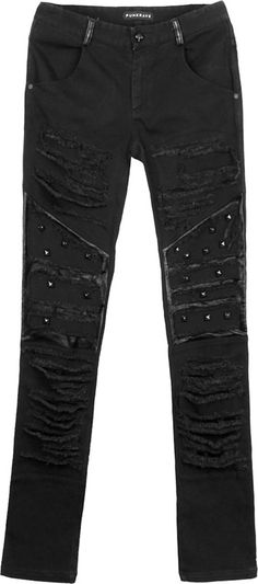 Black denim men's pants by gothic clothing brand Punk Rave, torn and destroyed and detailed with black metal rivets. Fitted, straight leg.