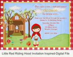 Red Riding Hood Invite for girl birthday party. https://www.etsy.com/listing/231506482/little-red-riding-hood-invitation?ga_order=most_relevant&ga_search_type=handmade&ga_view_type=gallery&ga_search_query=red%20riding%20hood&ref=sr_gallery_15